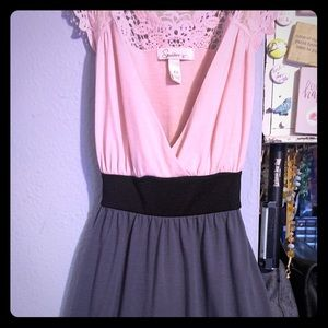 ES speechless pink gray and black dress